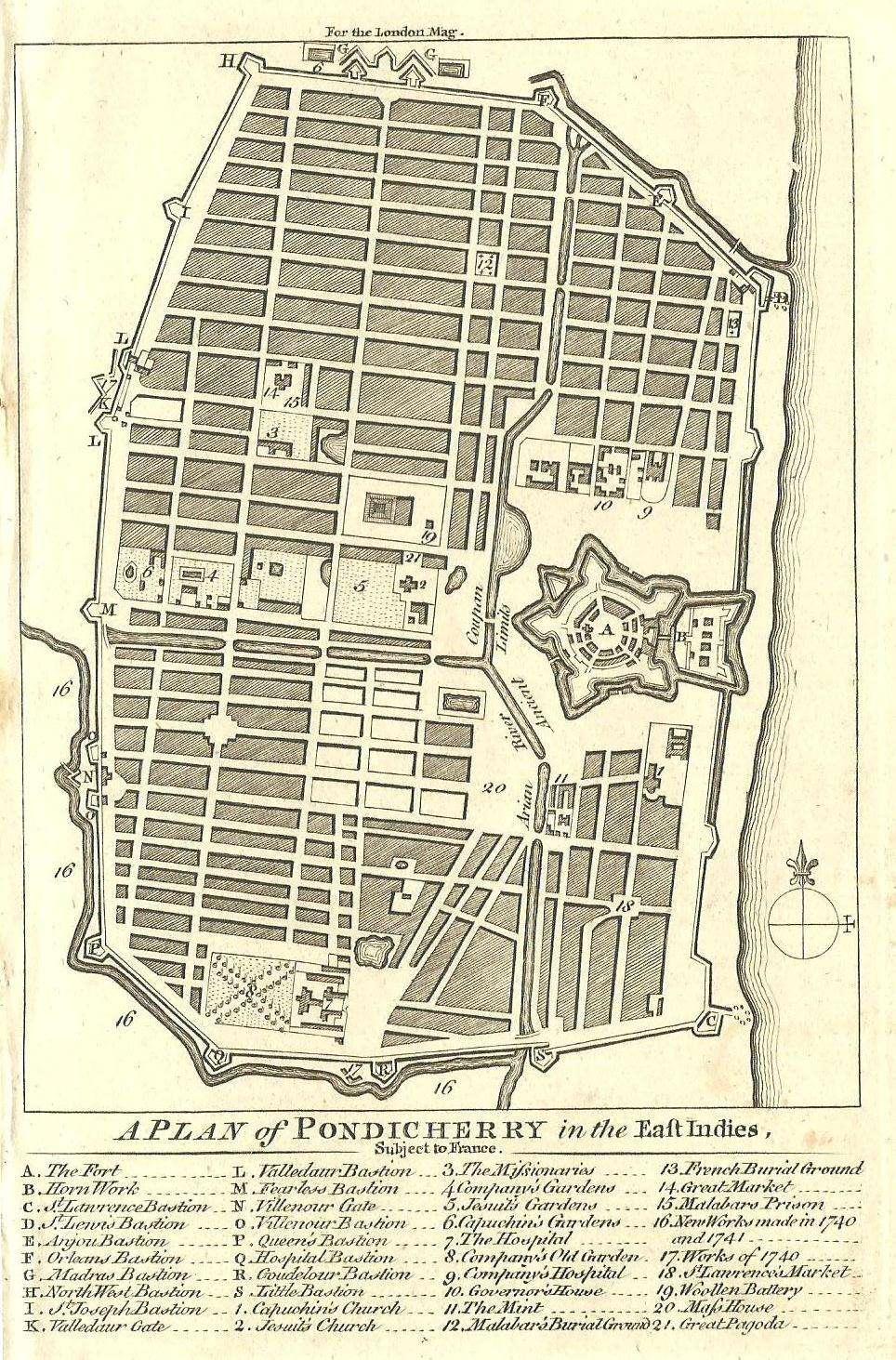 Golconda Rising Map Of Pondicherry Circa - Pondicherry map
